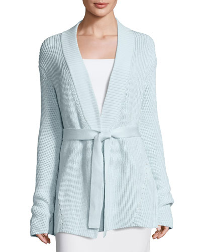Belted Long Knit Cardigan, Seafoam