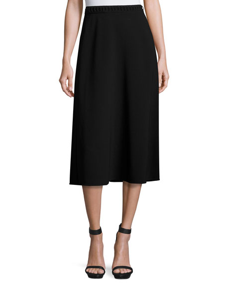 Alexander Wang Laced-Waist A-Line Midi Skirt, Matrix
