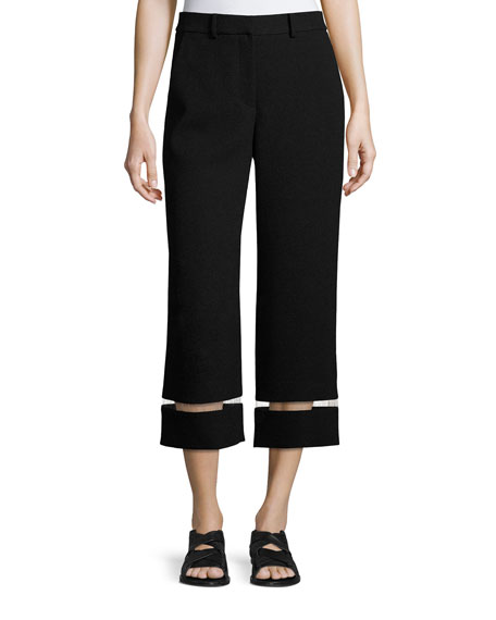 Alexander Wang Cropped Wide-Leg Pants with Fishline Trim,