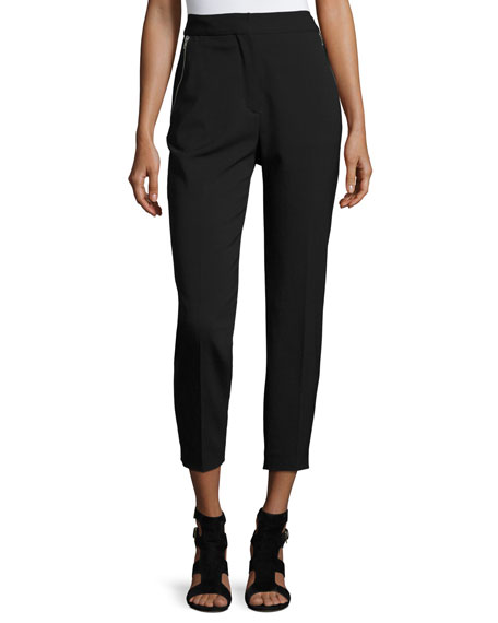 Alexander Wang High-Waist Zip-Pocket Ankle Pants, Matrix