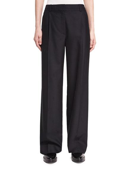 Alexander Wang Single-Pleat Wide-Leg Wool Pants, Black