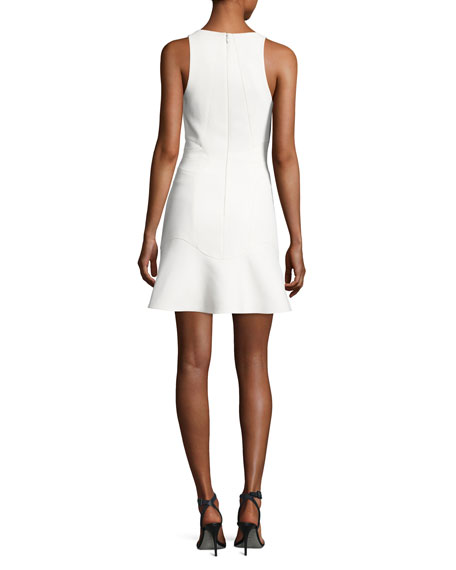 Contoured-Seam Sleeveless Peplum Dress, Bone