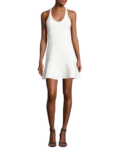 Alexander Wang Contoured-Seam Sleeveless Peplum Dress, Bone