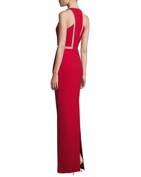 Mesh-Inset Sleeveless V-Neck Gown, Vermillion