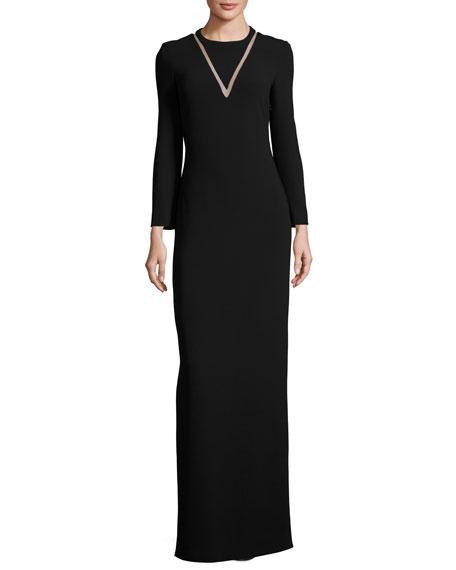 Alexander Wang Mesh-Inset Long-Sleeve Gown, Matrix