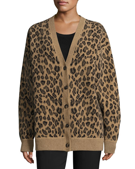 Alexander Wang Oversized Leopard-Print V-Neck Cardigan, Leopard