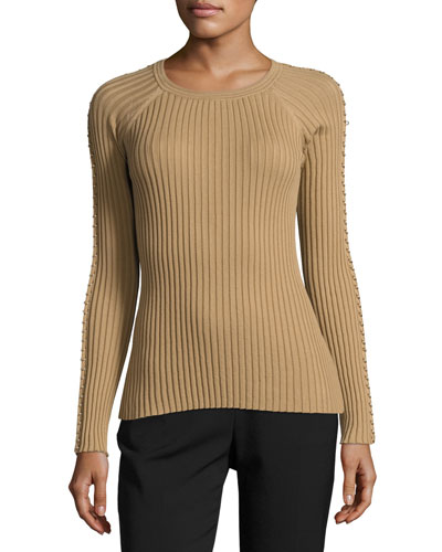 Pierced-Sleeve Crewneck Sweater, Safari