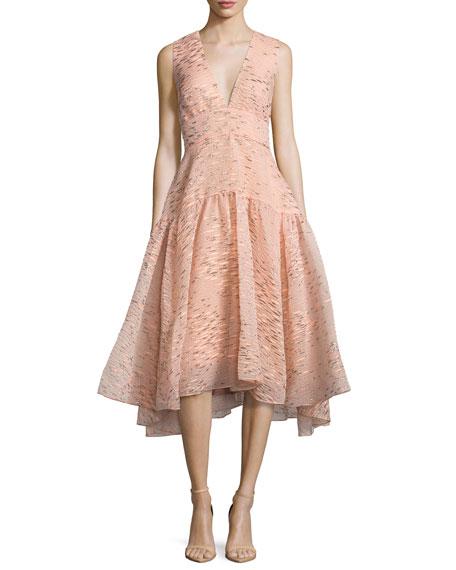 Lela Rose Minnow-Jacquard V-Neck Dress, Shell