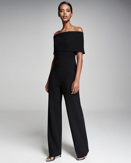 Lela Rose Off-the-Shoulder Wide-Leg Jumpsuit, Black