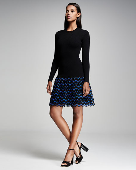 Wave-Lace Long-Sleeve Dress, Lapis/Black