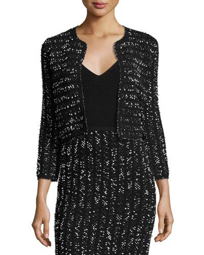 Speckled Tweed Cropped Shrug, Black/Ivory