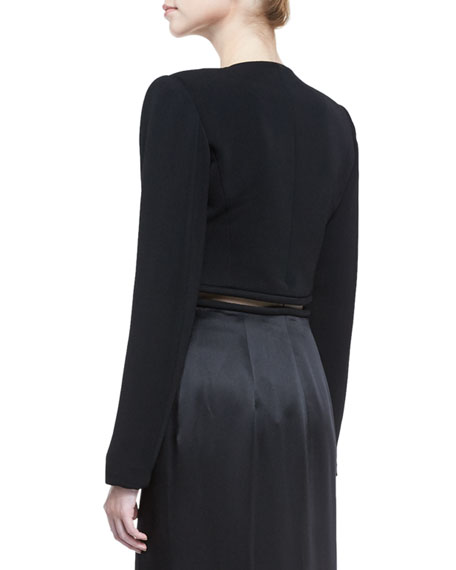 V-Neck Cutout-Waist Long Coat, Black