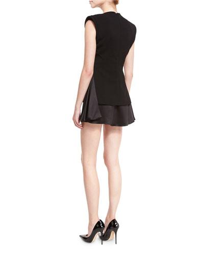 BRANDON MAXWELL Silks SLEEVELESS V-NECK FITTED MINI DRESS, BLACK