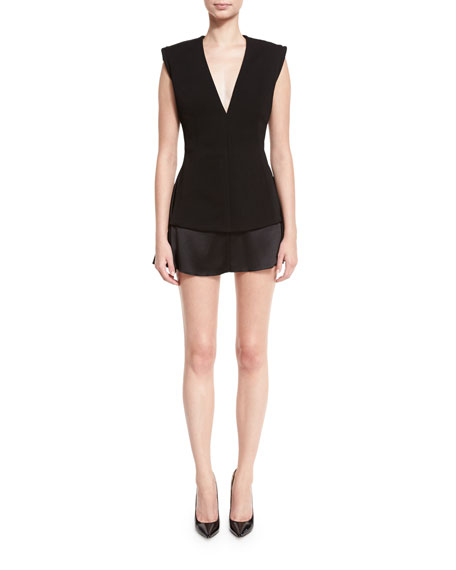 Sleeveless V-Neck Fitted Mini Dress, Black