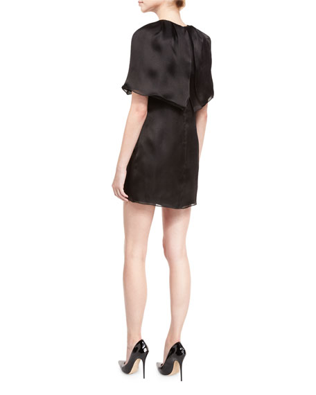 Cape-Sleeve Silk Mini Dress, Black