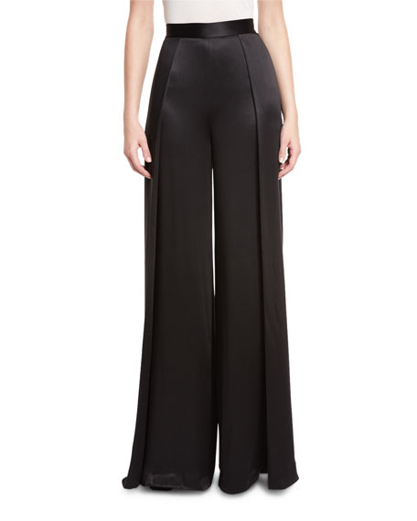 Brandon Maxwell Crepe-Back Satin High-Waist Wide-Leg Pants, Black