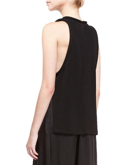 Piped Sleeveless Round-Neck Tunic, Black