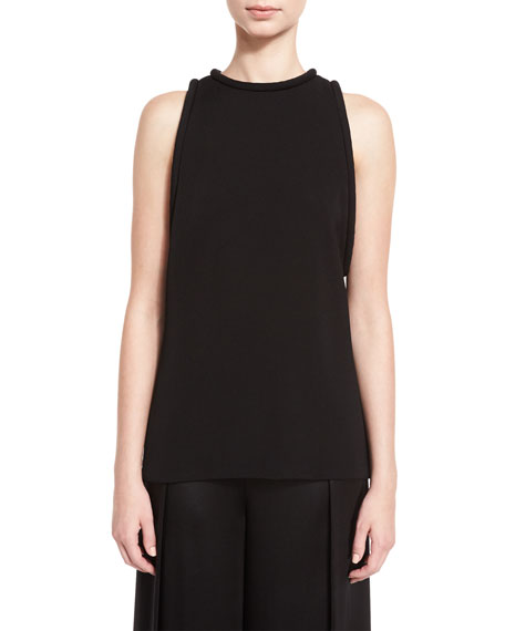 Brandon Maxwell Piped Sleeveless Round-Neck Tunic, Black