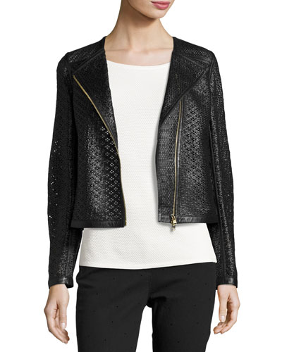 Perforated Leather Moto Jacket, Black