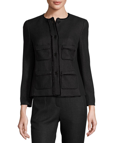 Raffia Tweed 3/4-Sleeve Jacket, Black