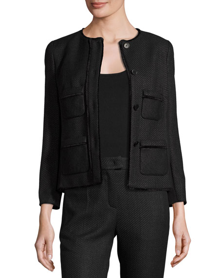 Escada Raffia Tweed 3/4-Sleeve Jacket, Black