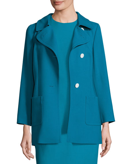 Pleated-Back Trench-Belt Topper, Bay