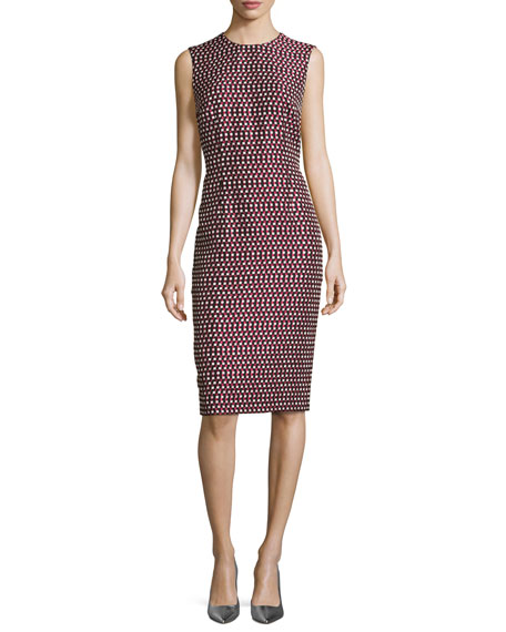 Escada Check Matelassé Sleeveless Sheath Dress, Navy/Multi