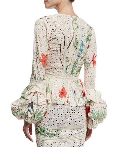 JOHANNA ORTIZ Cottons FLORAL EYELET POET-SLEEVE DRESS, WHITE/GOLD