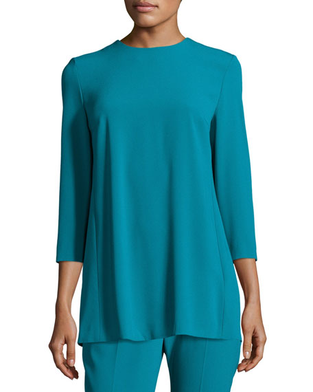 Escada Pleated-Back 3/4-Sleeve Tunic, Bay