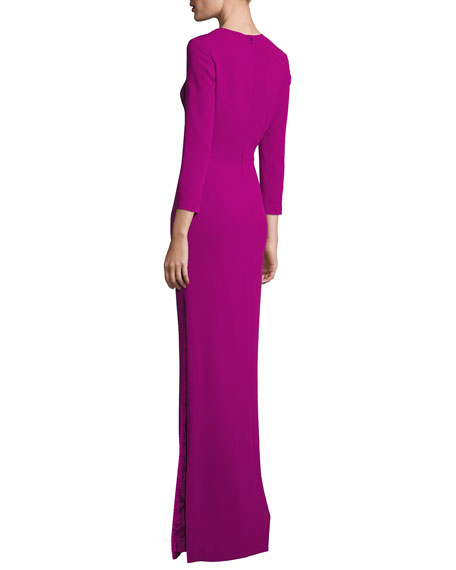 Sunray-Neck 3/4-Sleeve Gown, Tourmaline