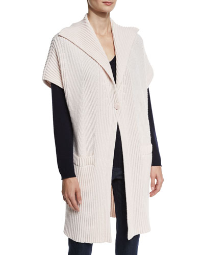 Cashmere Ribbed Gilet, Quince