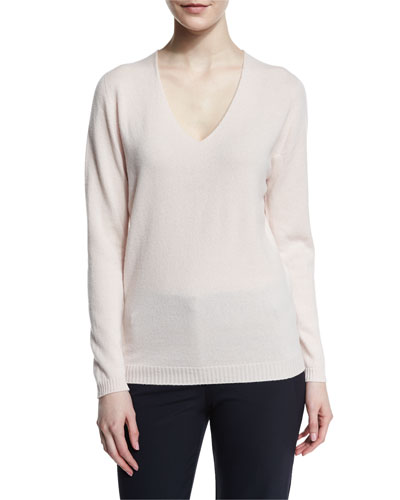 Cashmere V-Neck Boyfriend Sweater, Quince