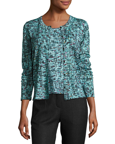 Escada Tweed Jacquard Cardigan, Bay