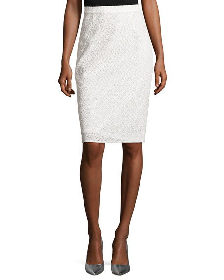 Escada Eyelet Lace Pencil Skirt, Natural