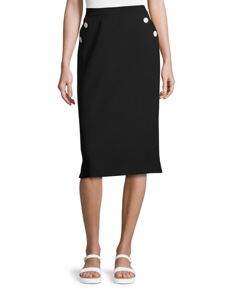 Escada Button-Pocket Pencil Skirt, Black