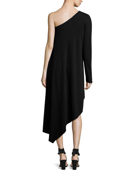 Asymmetric One-Shoulder Long-Sleeve Dress, Black