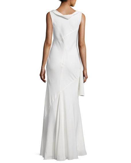 Draped Cowl-Neck Sleeveless Gown, Off White