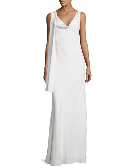 Draped Cowl Neck Dress: Narciso Rodriquez Draped Cowl-Neck Sleeveless Gown, Off