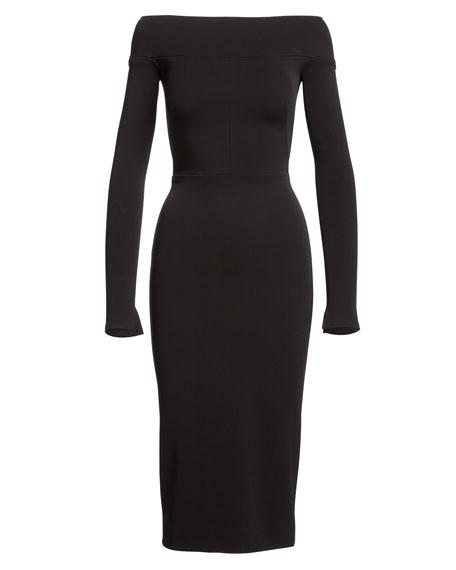 Off-the-Shoulder Long-Sleeve Sheath Dress, Black