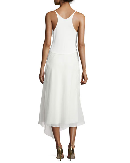 Sleeveless Modified-Racerback Dress, Alabaster