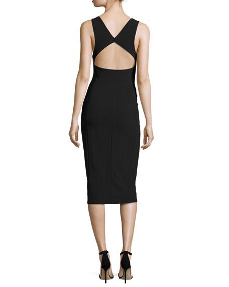 Open-Back Sleeveless Sheath Dress, Black