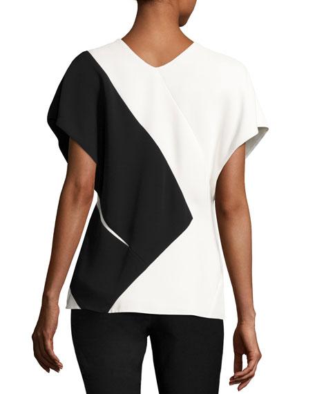 Colorblock V-Neck Short-Sleeve Top, Black/White