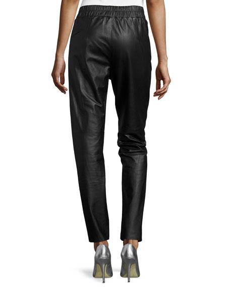Lunana Leather Ankle Pants, Black