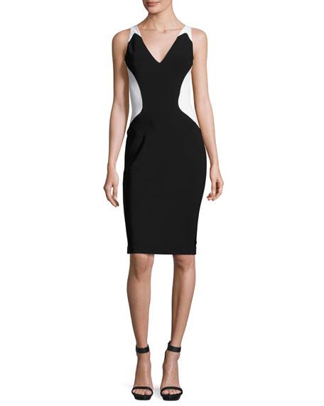 Mugler Colorblock Sleeveless V-Neck Dress, Black/White