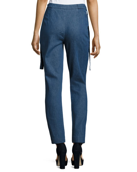 Side-Tie Straight-Leg Trousers, Indigo