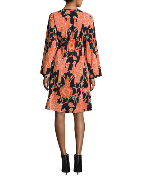 Bird-Print Henley Dress, Black/Red