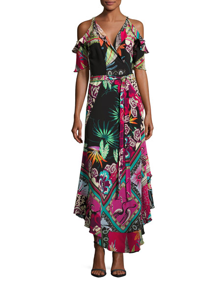 Tropical-Print Cold-Shoulder Wrap Dress, Black
