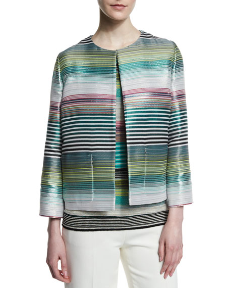 Escada Eve Striped Open Jacket, Blue