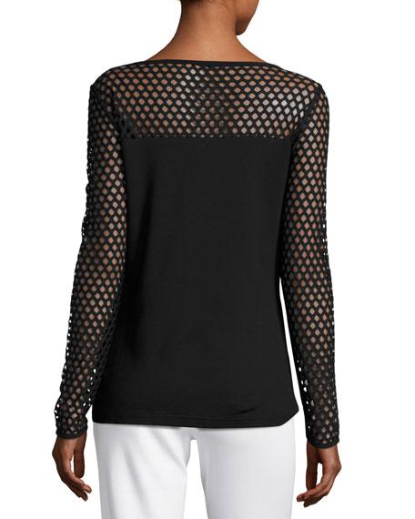 Eve Mesh Long-Sleeve Top, Black