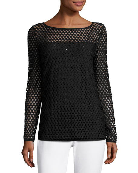 Escada Eve Mesh Long-Sleeve Top, Black